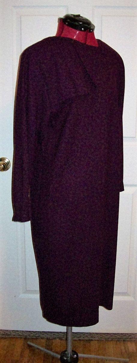 Vintage Ladies Dark Purple Wool Dress by Reed Scranton Size 12 Only 6 USD by SusOriginals on Etsy