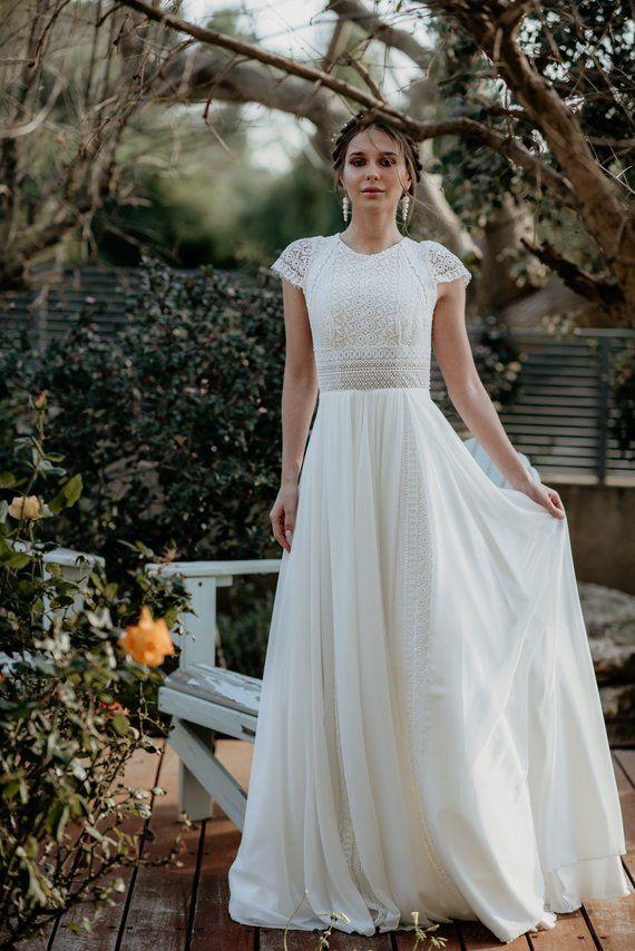 Kurze Ärmel Kleid der Frauen, Vintage, Elfenbein, inspirierende BOHO, u-Boot-Ausschnitt, häkeln, Chiffon, geometrischen Spitze, Hochzeit am Strand, KALA KALA