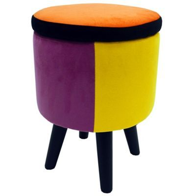 Buy Soleil - Contemporary Round Storage Stool - Orange / Blue / Pink / Yellow from our Bar Tables & Stools range - Tesco