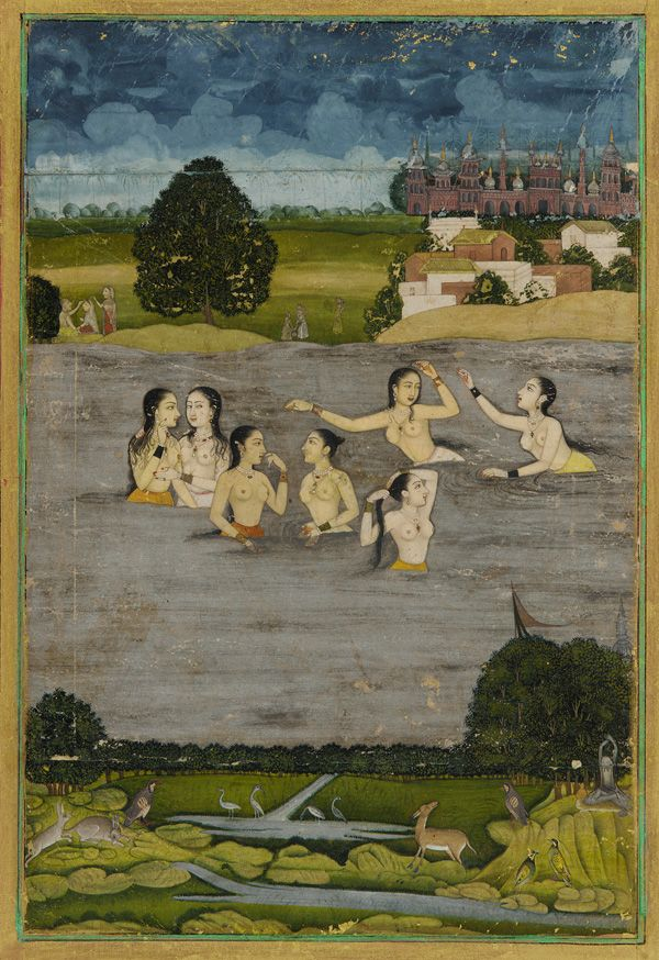 Women Bathing in a Lake 18th Century Mughal Painting