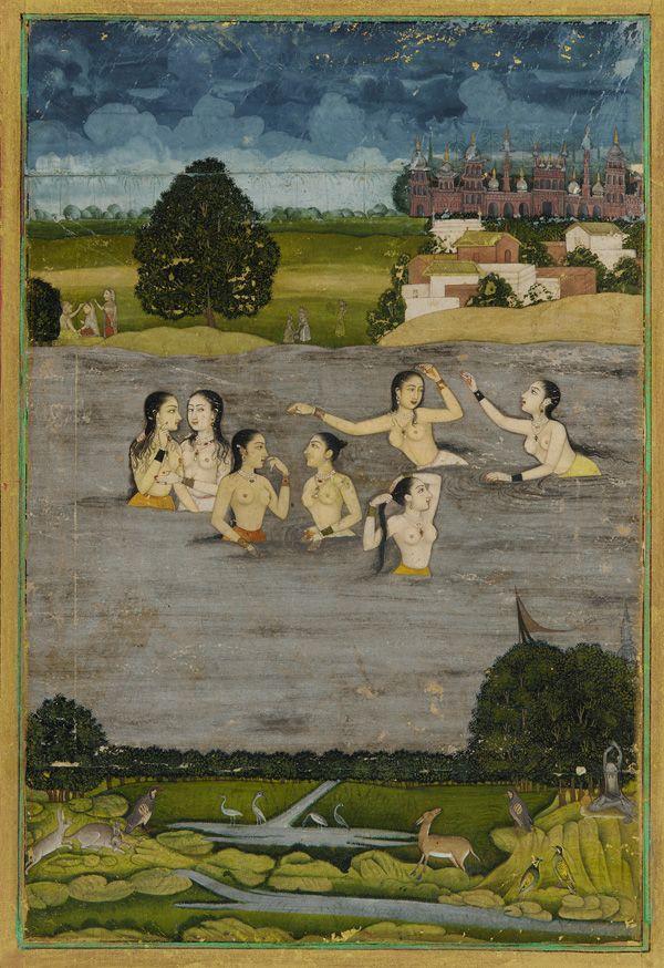 Women bathing in a lake  18th century  Mughal dynasty