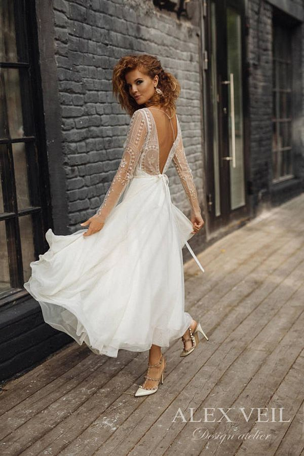 Lace Long Sleeve Short Wedding Dress Tea Length Marilyn Monroe Backless Y Midi Bridal Gown Rehearsal Dinner