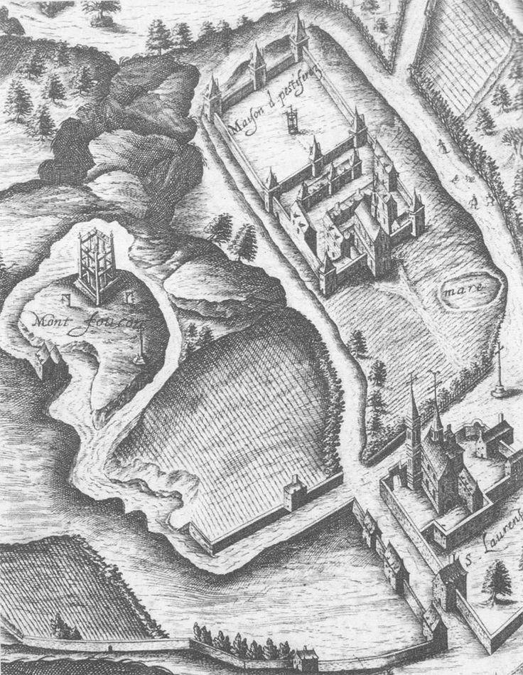 Le gibet de Montfaucon avec l'église Saint-Laurent et l'ancienne Maison des Pestiférés (site de l'actuel Hôpital Saint-Louis) - Plan de Vassilieu