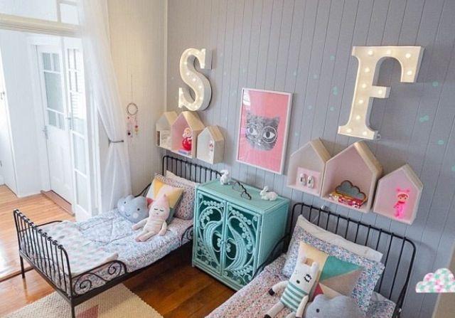 Kleur muur, letters en huisjes