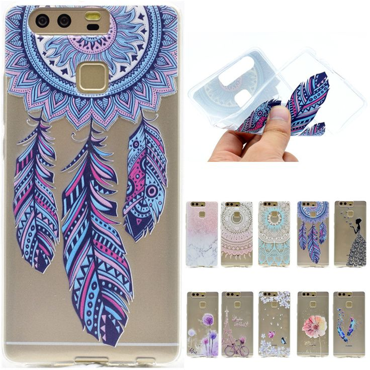 Luxury Cute Catoon Butterfly Girl Tower Bicycle TPU Soft Funda Case For Huawei Ascend P8 Lite P9 P9 Lite Back Cover Capa Coque