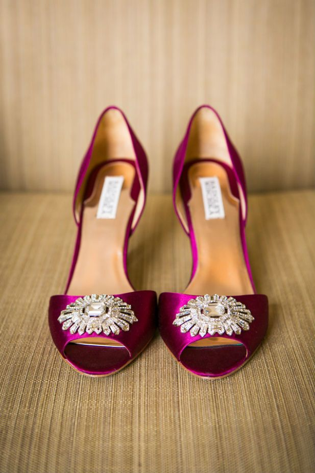 Magenta Badgley Mischka wedding heels (Photo by Kristina Lynn Photography)
