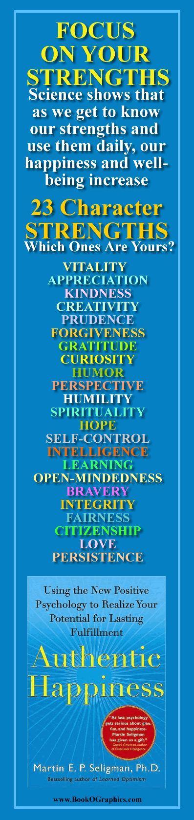 "Focus on Your Strengths - A BookOGraphic featuring the book ""Authentic Happiness"" by Martin Seligman, Ph.D"