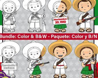 60% de desc. Combo Clipart Revolución Mexicana, a color y en blanco y negro, indios y adelitas, Imágenes México, Ilustraciones Set 112-113