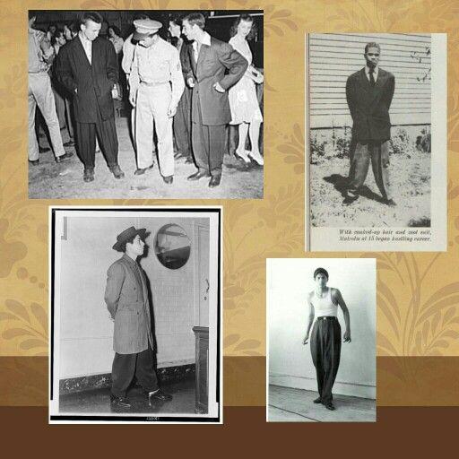 """Los músicos y los mafiosos usaban trajes anchos y elaborados llamados """"ZOOT"""". ElZoot Suites un estilo de vestir y fue unamodaen la década de losaños 40.  Este estilo se hizo popular, al igual que la palabra, por jóvenesmexicanos-estadounidensesy, con el tiempo, llegó a ser popular en Estados Unidos, en su mayoría entre lositaloamericanos, yafroamericanos. El trajezoot suitconsiste en pantalones de cintura alta o de tiro alto, anchos, acampanados o bombachos, ajustados o estrechos…"""