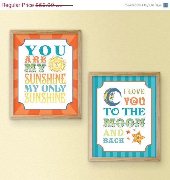 10 SALE Sun and Moon Quote Print Pair  I Love You by InkTreePress, $45.00