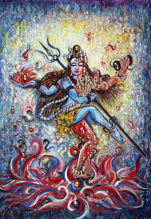 Shiva Shakti Original Painting is enhanced with Swarovski Crystals!