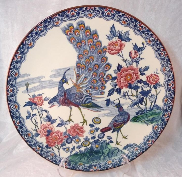 Large Japanese Oriental Plate Charger Blue Peacock Bird Look | eBay