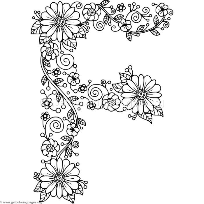 Free Downloads Floral Alphabet Letter F Coloring Pages Coloring