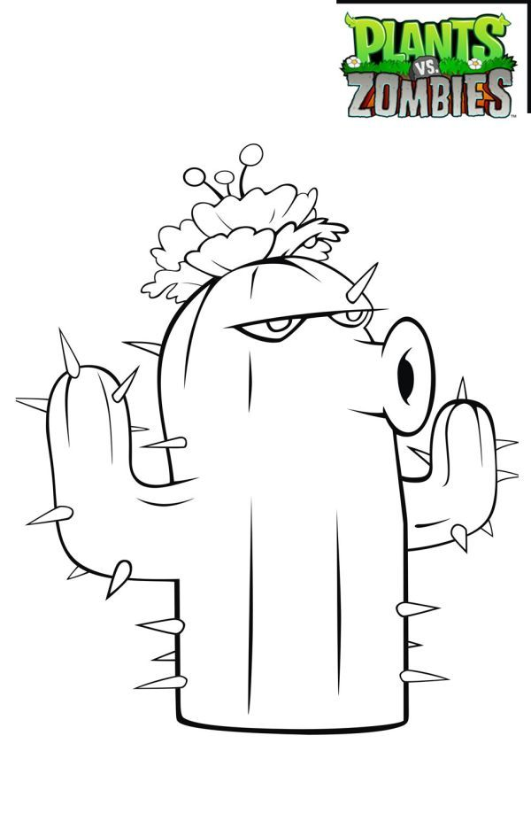 Plants Vs Zombies Coloring Pages Cactus With Images Plants Vs