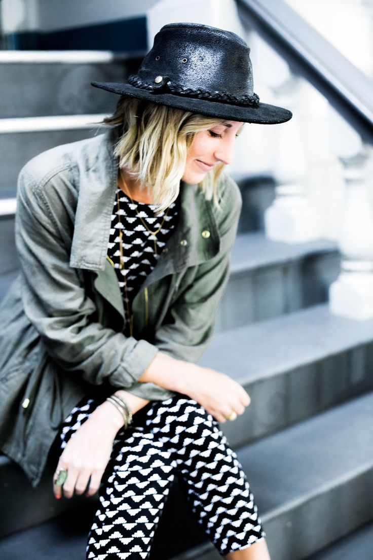 Amanda Holstein in Old Navy printed jumpsuit outfit, utility jacket and free people hat