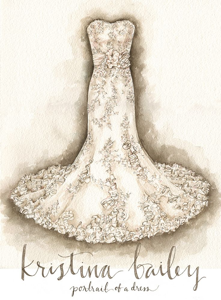 Wedding Dress Portrait Painting by Kristina Bailey.  The Lace and Cascading Ribbons on this dress blow me away.  #weddingdress #portraitofadress  www.PortraitOfADress.com