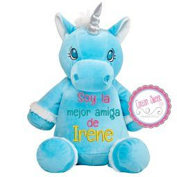 Peluche personalizado mensaje bordado Unicornio Azul