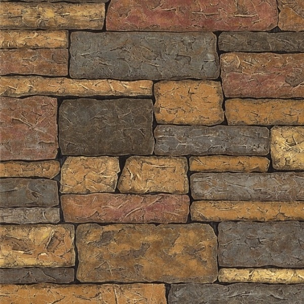Sample Rustic Copper Linear Natural Slate Blend Mosaic: Rustic Brick Colors