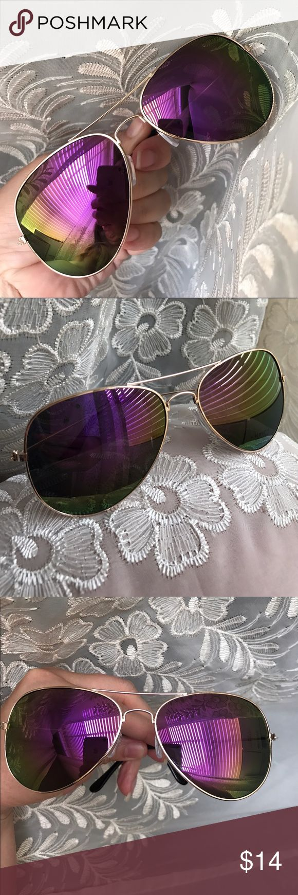"""☀️NEW☀️Purple Mirror Aviators Purple with green fade mirror lenses. Gold frames. Approximately 5.75"""" across frame front, 2 x 2.75"""" each lens frame. Fit not guaranteed. All images show example of actual stocked glasses. Brand new and unworn, without tag. Lens cloth and drawstring pouch included. No hard case. No brand. I do not model. No trades, no off app transactions.     ❗️PRICE IS FIRM UNLESS BUNDLED❗️                  Bundle and save  Leoninus Accessories Sunglasses"""