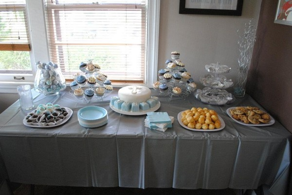Baptism Dessert Table - blue and white color scheme. Cake pop favors, oreo balls, cupcakes, cream puffs, puppy chow, and of course....chocolate chip cookies!! loralee