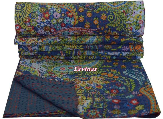 Queen Size Blue Paisley Kantha Quilt Bed cover Indian by lavinas