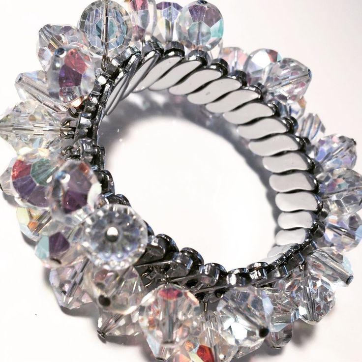 Vintage 50's-60's Sparkly Crystal Aurora Borealis Expansion Bracelet