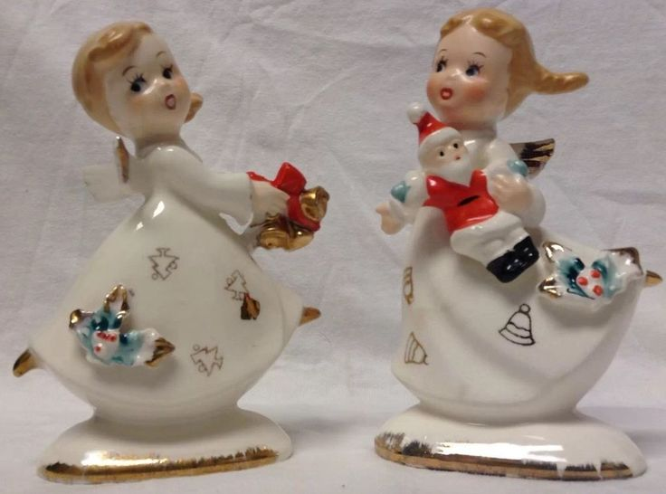 Set Of Two Vintage Christmas Angels, One Holds Santa Doll, Other Holds Gold Bell