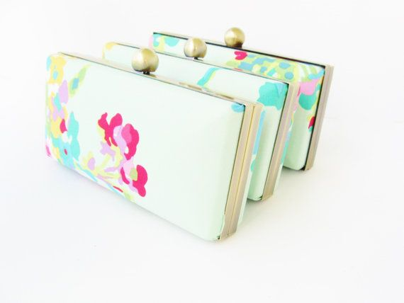 bridesmaid clutch set of 3 mint floral clutches by VincentVdesigns, $144.00