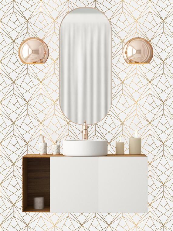 Or Geometrique Net Amovible Fond Decran Peler Et Coller Mur Etsy Removable Wallpaper Self Adhesive Wallpaper Peel And Stick Wallpaper