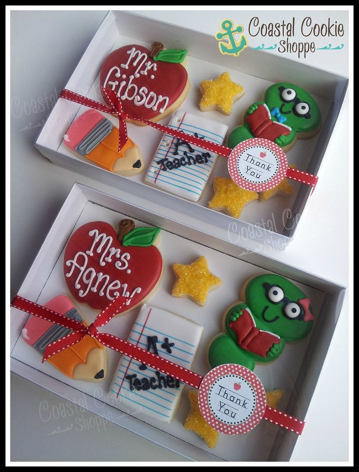 Teacher end of year gifts. Custom cookies by Coastal Cookie Shoppe. #bookworm…