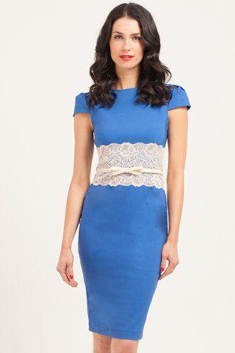 Paper Dolls Blue & Cream Lace Panel Bodycon Dress