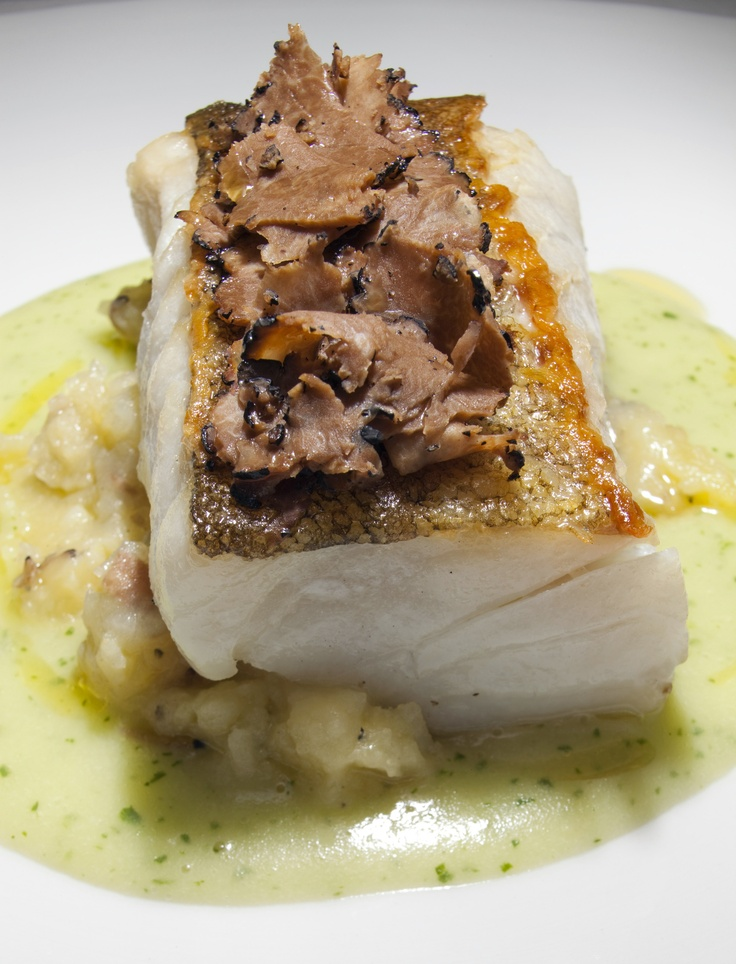 Roasted Rockfish Fillet with Asparagus Cream and Truffle