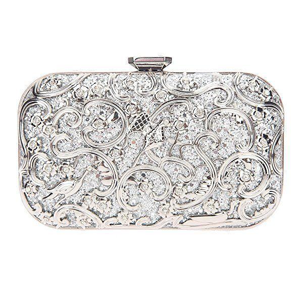 Classy Floral Silver Clutch Bag For Wedding
