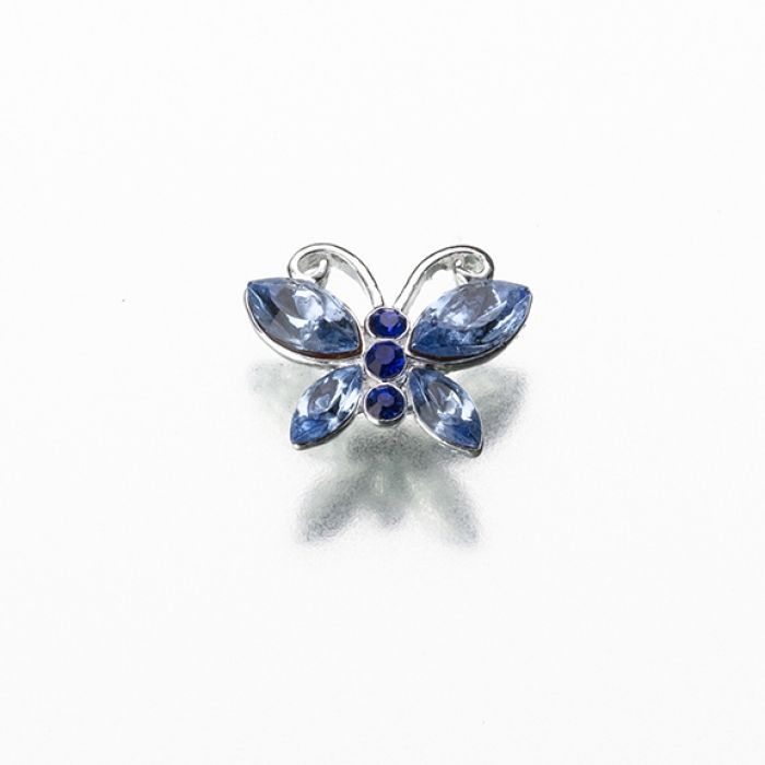 "This charming ""Something Blue"" butterfly pin uses silver plating combined with shiny rhinestones in two different shades of blue."