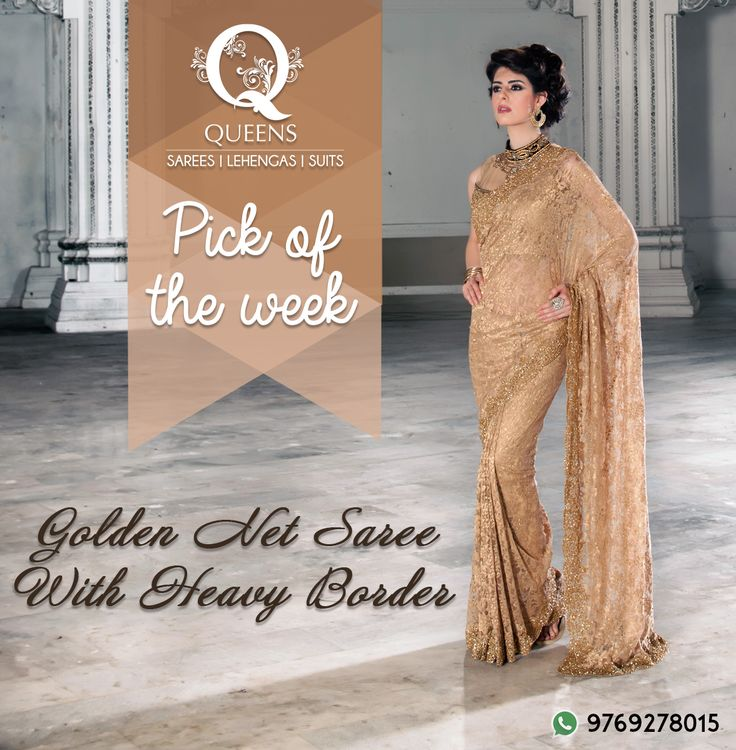 All that glitters is a golden net saree. Whatsapp us on +91 97692 78015 to know more or order.  #QueensEmporium #Mumbai