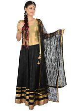 Black Satin Traditional Skirt Indian Bolly Wood Dance Lengha Choli Skirt tops 12