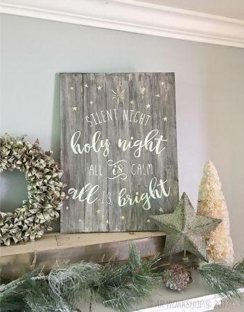 silent night holy night plank wood sign diy christmas | AR