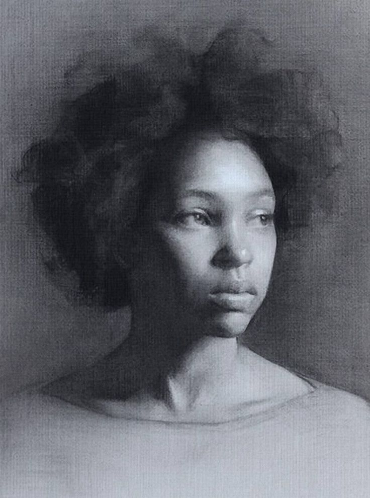 George Morton, beautiful African-American black young woman portrait, charcoal and white chalk on grey paper drawing. Florence Academy of Art. #loveart
