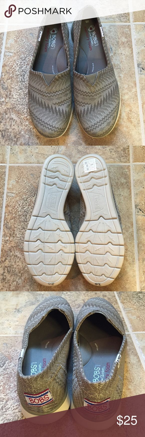 "BOBS by Skechers Pureflex Slip On Shoe NWOT Never worn. Has ""20"" in silver sharpie written on bottom. Purchased from outlet store but never worn. Shock absorbing midsole. Tan colored with great Aztec like print. Also have in black.  See other listing. Can go lower on Ⓜ️ Skechers Shoes Flats & Loafers"