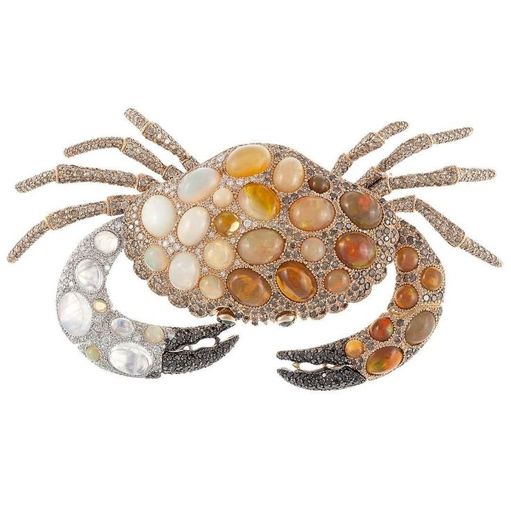 Crab brooch designed by Antonio Rodriguez with brown white and black diamonds,white & fire opals, white and pink gold