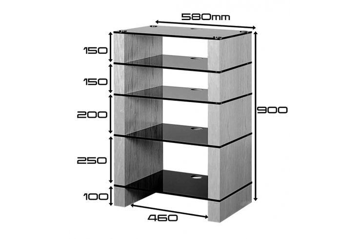 STAX 500 Five shelf Hi-Fi Stand Dimensions Drawing, Walnut Etched
