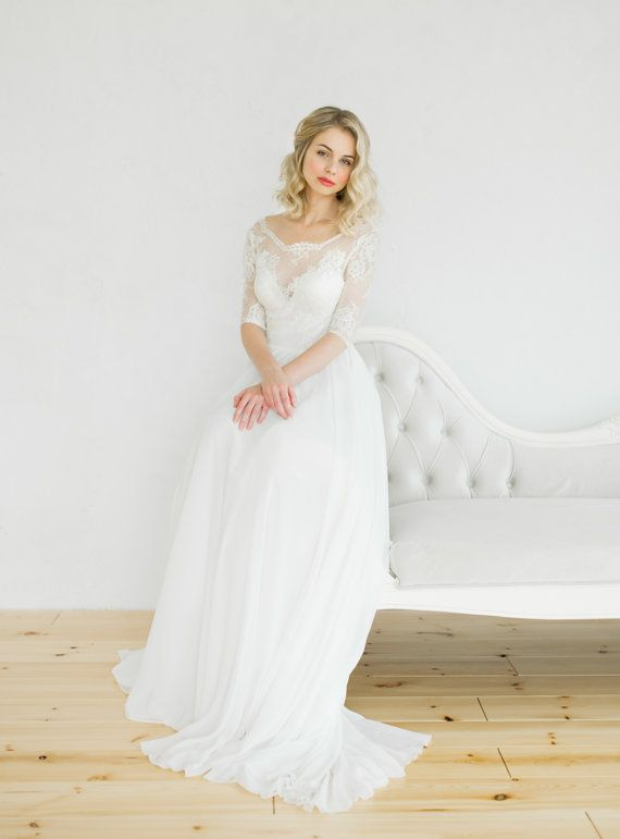 White vintage style wedding dress by CathyTelle on Etsy