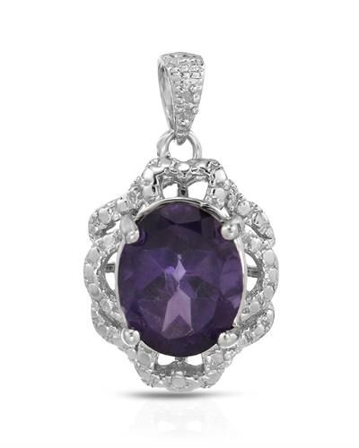 Brand New Pendant With 2.31ctw Precious Stones - Genuine Amethyst and  Diamonds  925 Sterling silver Length 22mm - Certificate Available.