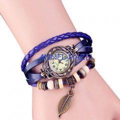 Yaprak Temalı Boncuklu Bayan Mavi Deri Bileklik Saat