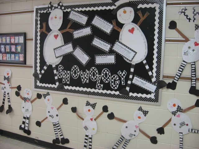 A whole website dedicated to bulletin board ideas. Love it!Schools, Snow Ology, Black And White, Winter Bulletin Boards, Website Dedication, Front Doors, History Bulletin Boards, Boards Ideas, Snow People