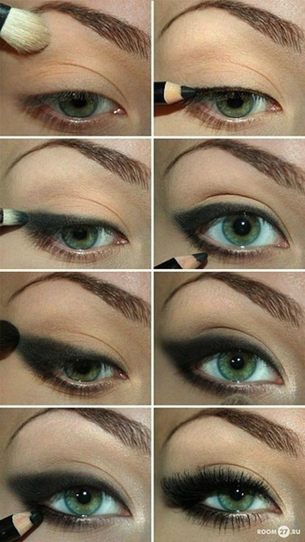 Combine powder and pencil for a sultry, smoky effect. | 15 Easy Hacks For Perfect Eyeliner