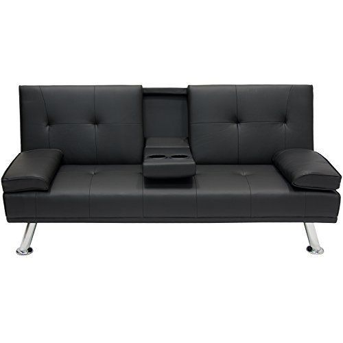 Leather Convertible Futon Sofa Bed Counch Sleeper Living Room Lounge Furniture #KandN