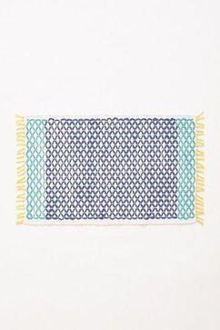 Netted Bath Mat, Turquoise - mediterranean - bath mats - Anthropologie
