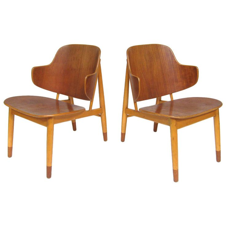 Pair of lounge chairs in teak and birch by Ib Kofod-Larsen