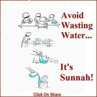 Avoid wasting water. Its Sunnah! Islam